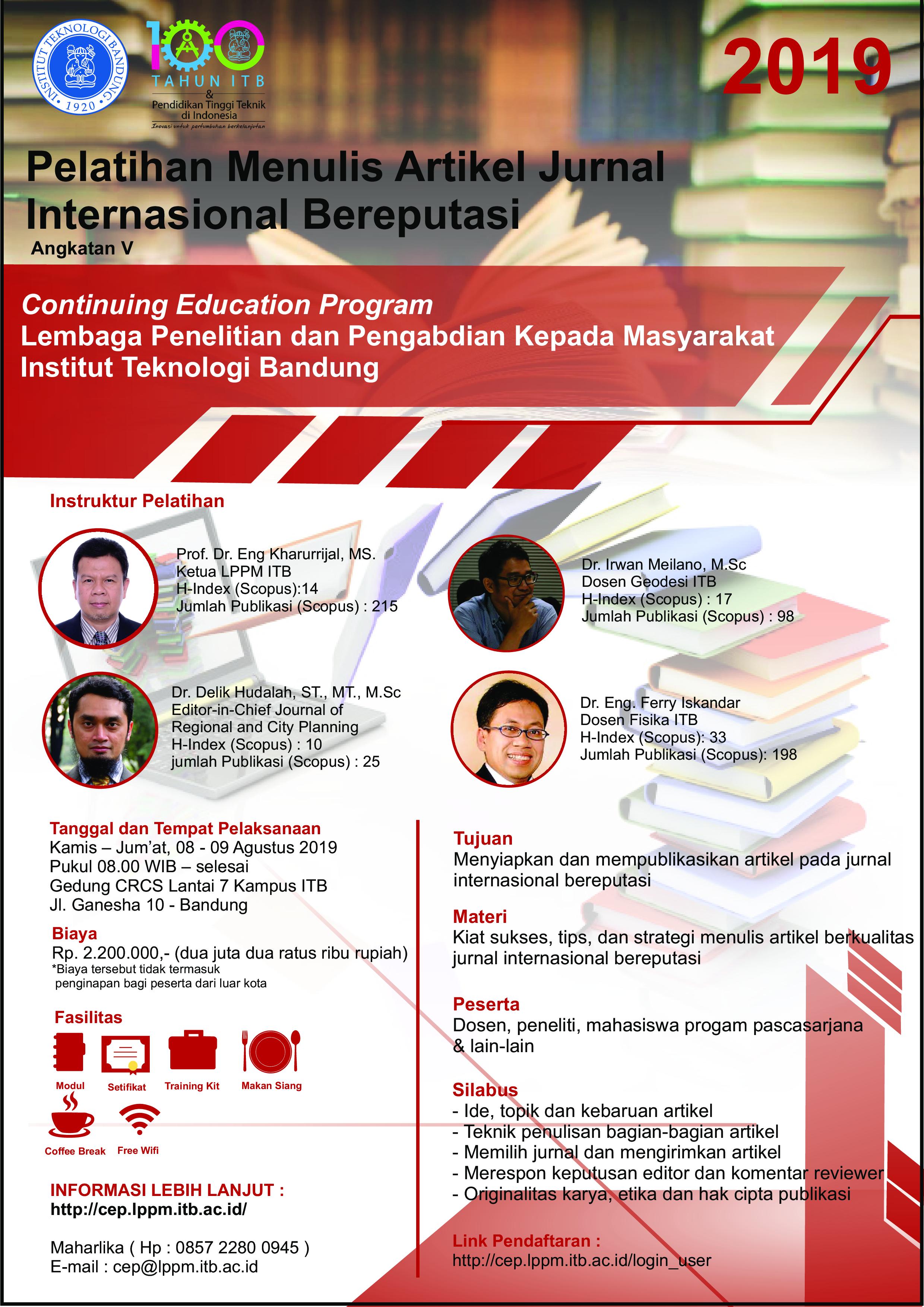 Continuing Education Program - LPPM ITB : Menulis Artikel ...